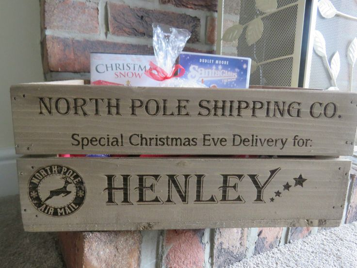 Personalised Christmas Eve Box Engraved Xmas Box Wooden Crate Small Apple Crate in Home, Furniture & DIY, Celebrations & Occasions, Christmas Decorations & Trees | eBay