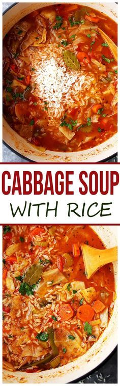 Cabbage Soup with Rice - Healthy, hearty and delicious cabbage soup with rice and vegetables. #ad #HuntsDifference