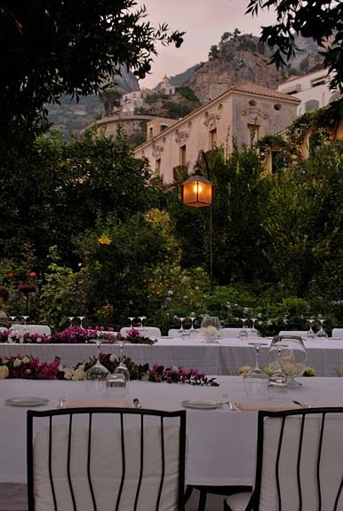 #AmalfiCoast, #Positano, #wedding reception in a garden - this looks like it could be the gardens of Palazzo Murat