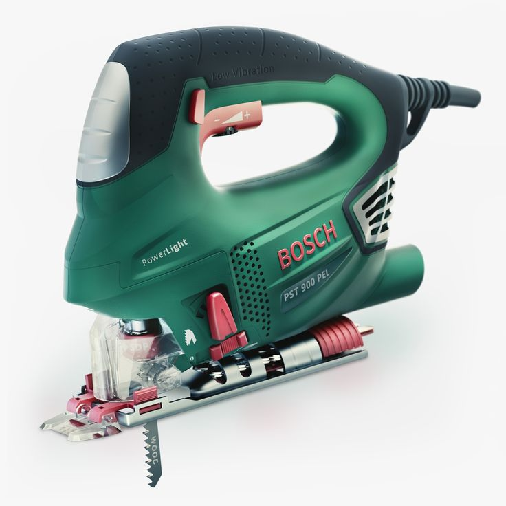 Bosh jigsaw PST 900PEL  green power tool Workshop tool perfect for hobby use. Idlero 3d render created in Blender rendered in cycles