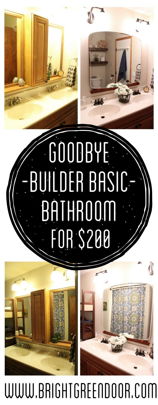 Builder Basic Bathroom Updates- Giving a new bathroom vintage charm. www.BrightGreenDoor.com