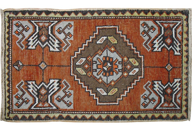 Vintage turkish yastik rug in orange