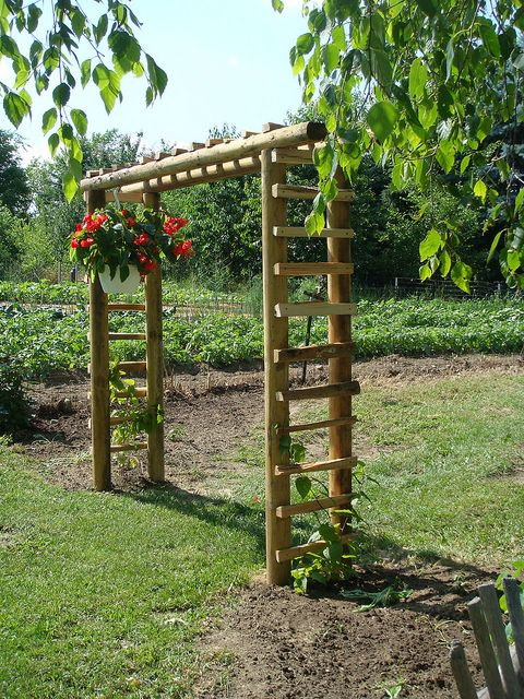 arbor made of landscape ties  This is such a coincidence.  I was thinking about adding vegetables in my flower garden and thought maybe if I made an arbor and fenced it in, it would look okay and the arbor could be where veggies that climb could go..so thank you for this.