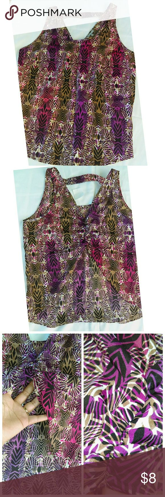 """Charlotte Russe open back blouse Purple & brown pattern with an open back starting from the mid back or wear your bra is usually located. Loose yet comfortable. Sold as is. Great condition. Brand new with tags. Size medium but could maybe fit large. 17"""" waist 17.5"""" front-height (flat lay measurements) .. no modeling Charlotte Russe Tops Blouses"""