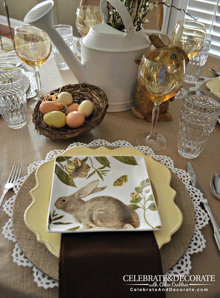 Pretty neutral tablescape for Easter. Love it! #easter #tablescape homechanneltv.com