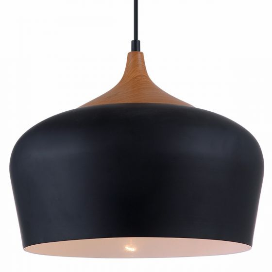 Lampada Viganelli Metal Shade & Timber Pendant Light