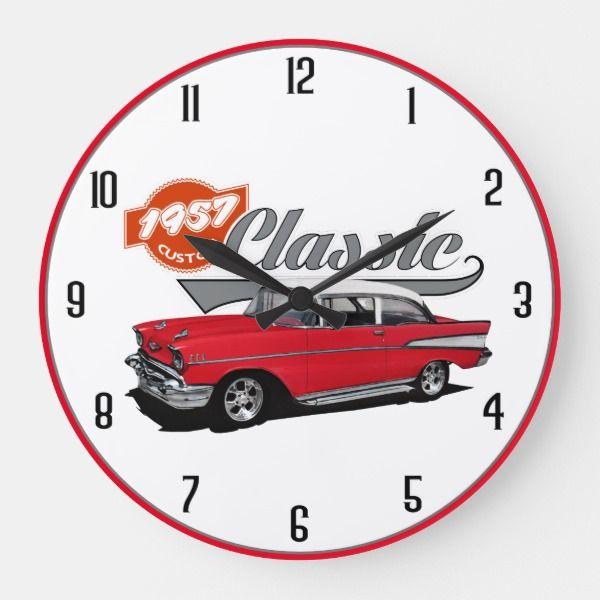 1957 Red Classic Large Clock Zazzle Com Large Clock Clock Classic