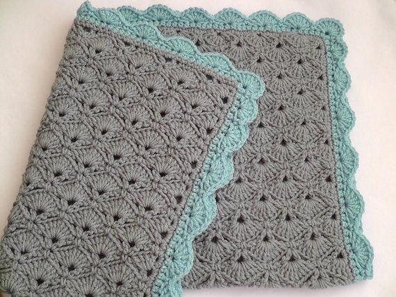 Not a pattern just Love these colors for a crochet baby blanket! Would work for a girl or a boy! love the gray blanket with colored border