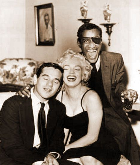 Milton Greene, Marilyn Monroe & Sammy Davis Jr at Sammy's party.
