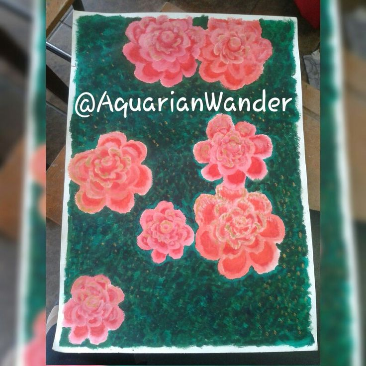Painting of flowers I took a photograph of - Done with acrylics in an Impressionistic style - A2