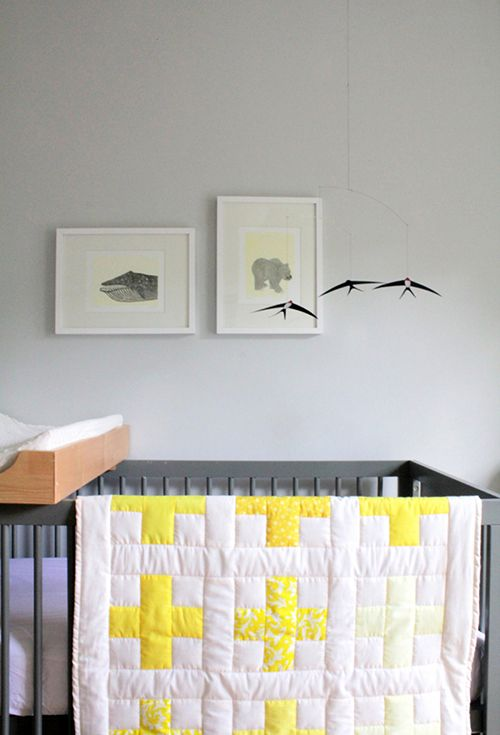 """Sneak Peek: Alison and Jeff Allen. """"We started decorating Gus' nursery before we knew if Gus was going to be a boy or girl. With that in mind, we decided to go with a gender-neutral yellow and gray color palette. The quilt, curtains and the pillow are all handmade by me."""" #sneakpeek"""