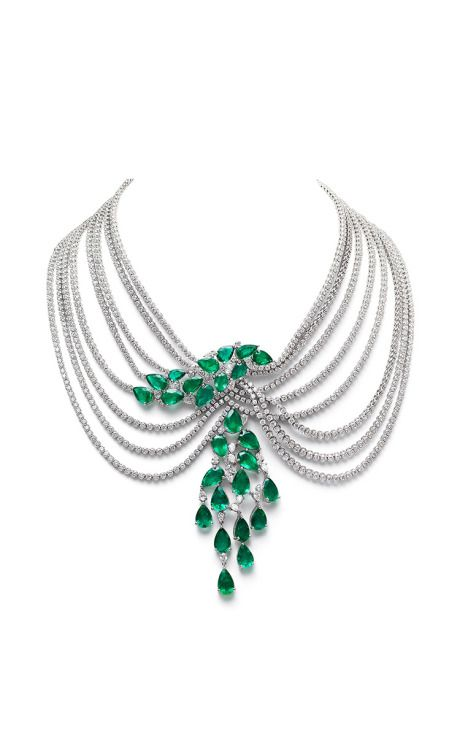 Farah Khan Zambian Emerald Multi-Layered Necklace by Farah Khan Fine Jewelry for Preorder on Moda Operandi