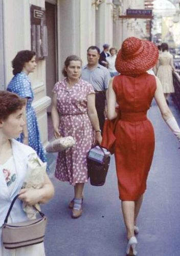 1950s - love the red dress and hat!!