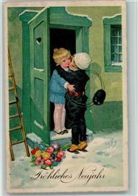 Künstlerkarte Neujahr - Kinderpoesie - Schornsteinfeger gibt einen Kuss