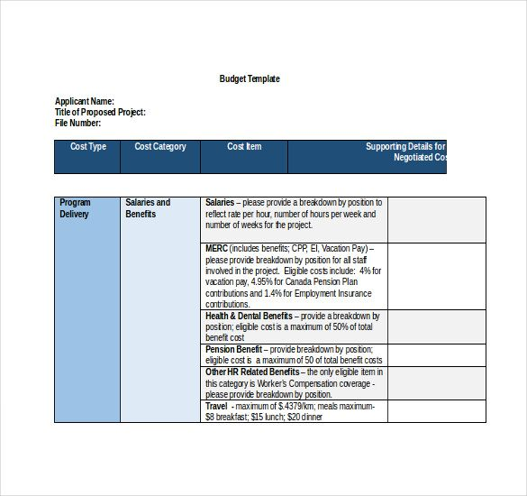 11+ Project Budget Templates Word, Excel  PDF Templates www - sample program budget template