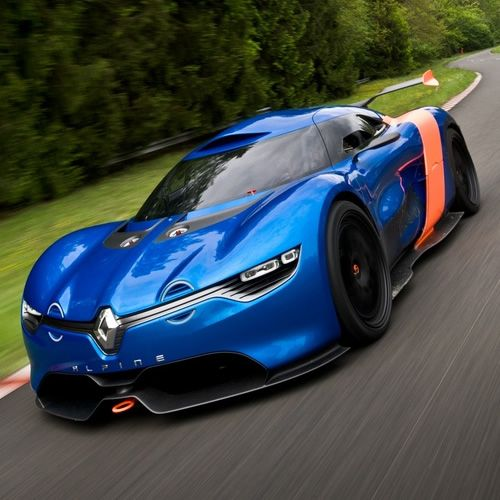Renault Alpine A110-50 Concept    Renault might be bringing back its famed Alpine sports car brand and today they're officially lifting the curtain on the car that could ignite its revival, the Alpine A110-50 Concept. The concept is powered by a 24-valve V6 which delivers 400 horsepower and 311 lb-ft of torque and is mated to an F1-style sequential gearbox. No word yet on the car's specs, but we can imagine its no slouch around the track.