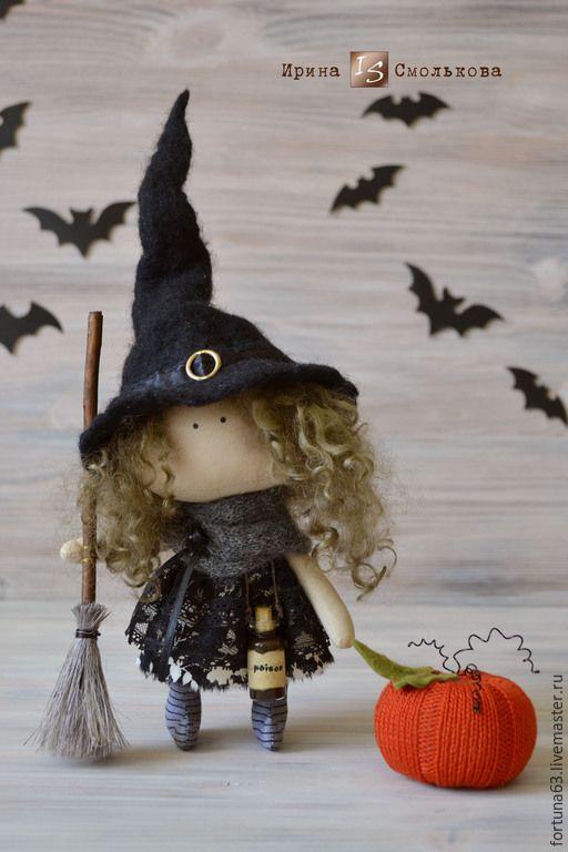 Купить текстильная кукла ВЕДЬМОЧКА - черный, текстильная кукла, кукла, кукла ручной работы