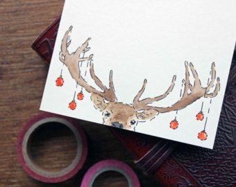 Set of 12 Printed Christmas Cards Deer Xmas by DrawforToffee