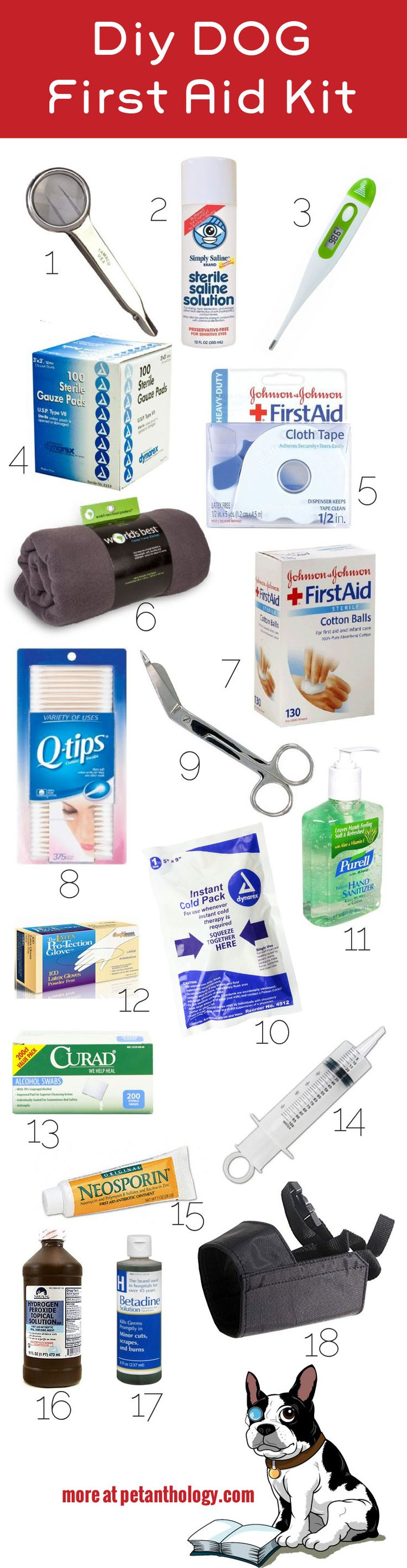 Keep your dog safe in case of an emergency by including these items in your dog first aid kit. #diy