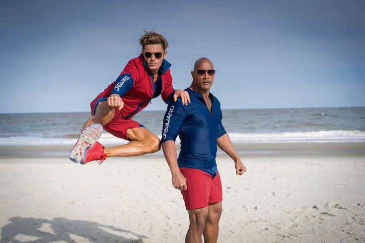 Zac Efron and Dwayne Johnson. Baywatch (2017).