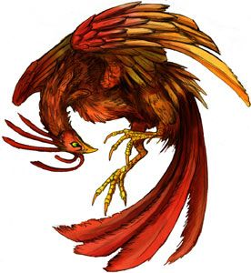 The Vermilion bird is one of the Four Symbols of the Chinese constellations. According to Wu Xing, the Taoist five-elemental system, it represents the fire-element, the direction south, and the season summer correspondingly. Thus it is sometimes called the Vermilion bird of the South. It is described as a red bird that resembles a pheasant with a five-colored plumage and is perpetually covered in flames.