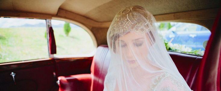 Lovely bride in the wedding car in Queenstown, New Zealand