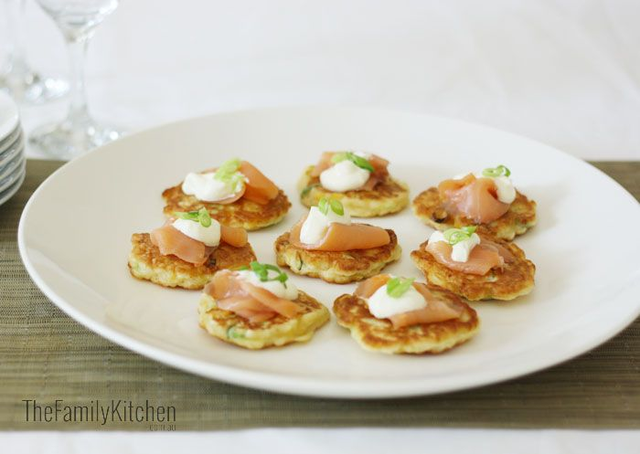 Mini Corn Fritters with Smoked Salmon & Sour Cream