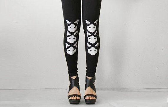 Three Sneaky Cats Womens Black Leggings Style by rabbitandeye, $28.00
