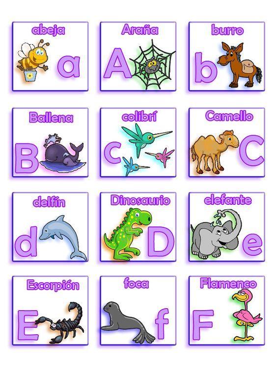 El Lenguaje de los Niños: Lotería de Letras y animales.abc animales español