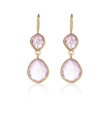 Pink Onyx, Rose Cut Earring, Gold