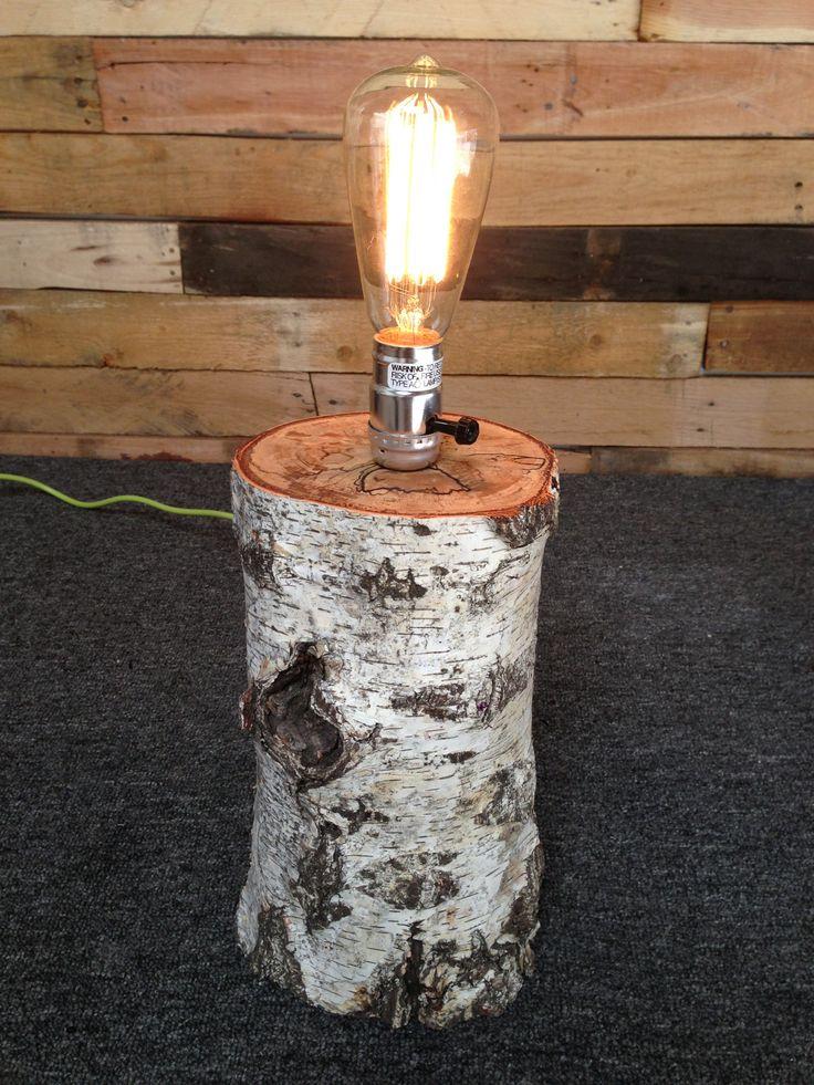birch log lamp
