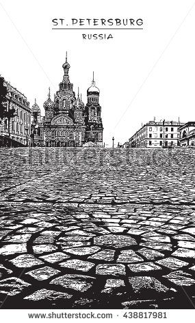 Church of the Saviour on Spilled Blood in St. Petersburg, Russia.  Black and white vector stylized engraved illustration.EPS 10. Easy editable image. Result of Auto-Trace.