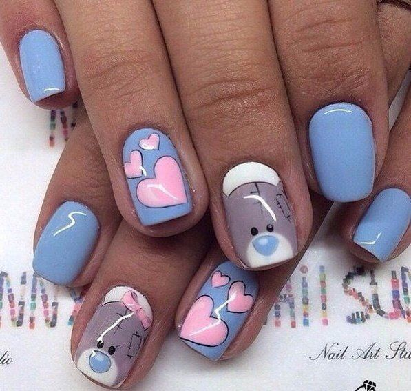 58 best valentines day nails 2018 14 february nail designs february nails bears nails cheerful nails heart nail designs hearts on prinsesfo Image collections
