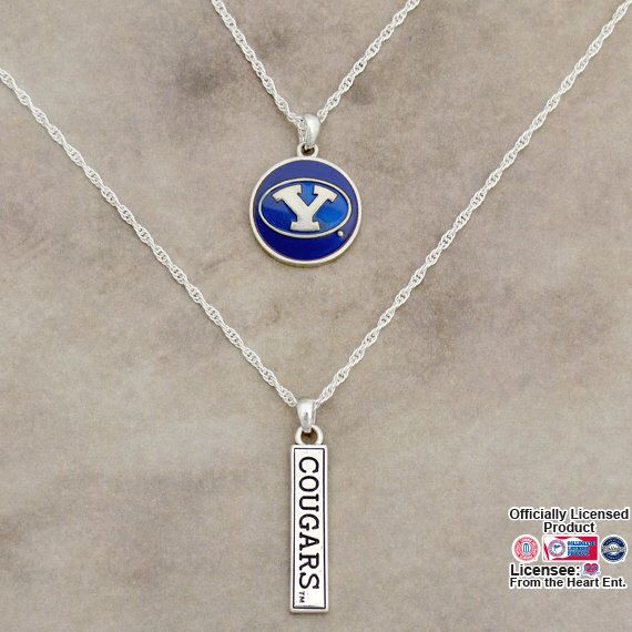 BYU Cougars Double Down Necklace - BYU57783 by ShopCharmingCollect on Etsy https://www.etsy.com/listing/278883130/byu-cougars-double-down-necklace