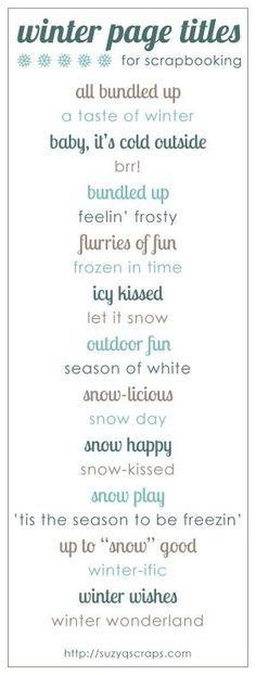 winter scrapbook ideas | winter scrapbook page titles by kari