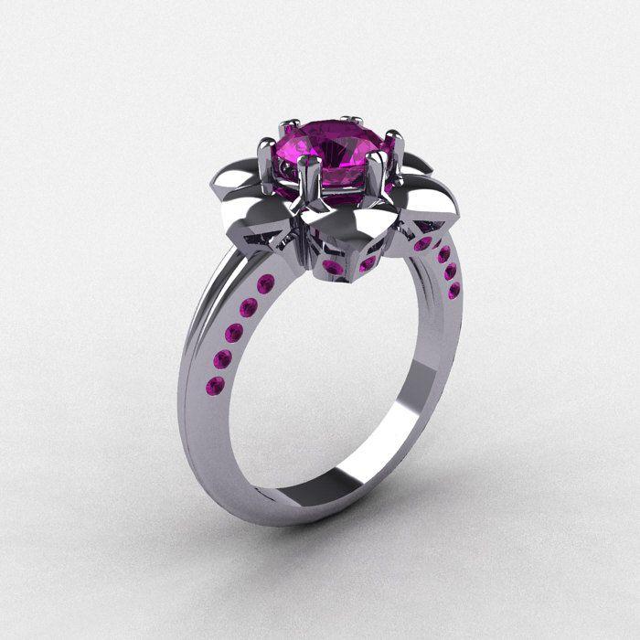 950 Platinum Amethyst Wedding Ring, Engagement Ring NN102-PLATAM. $2,249.00, via Etsy.