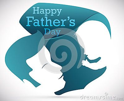 Dad hold in arms and look at his baby in abstract shape with greeting message for Father's Day.