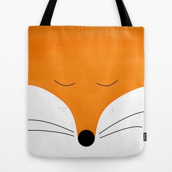 fox tote bag in 13x13 16x16 18x18 in Handpainted for fox by Narais