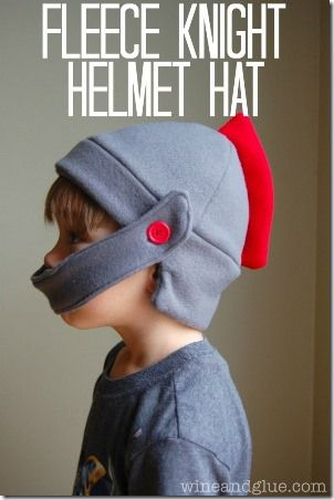 Fleece Knight Helmet Hat from Wine and Glue