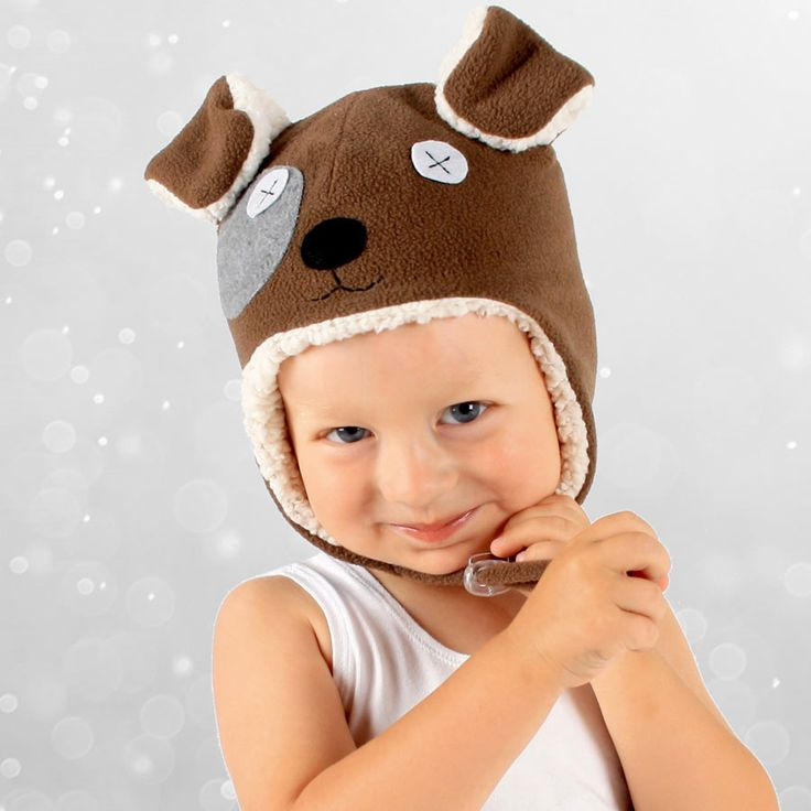 Super cute puppy beanie fleecy lined keeping little heads warm in winter. #bedheadhats #winterbeanie #babybeanie #kidshats