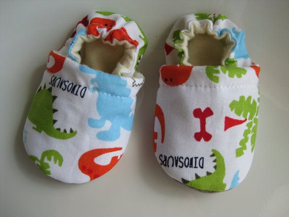 Baby boy shoes, soft soles, dinosaur theme