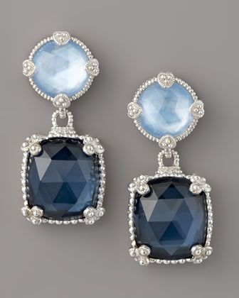 Wedding Earring - Quartz Doublet Drop Earrings, Blue  by Judith Ripka