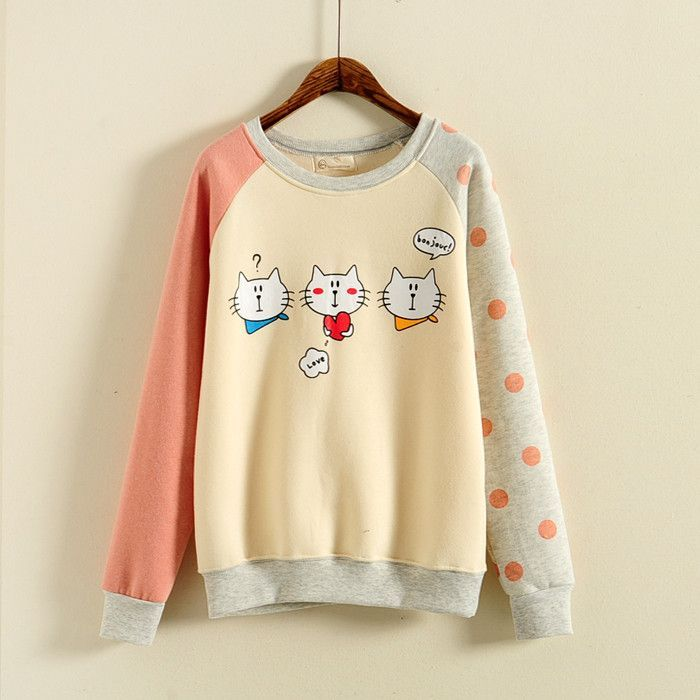 Cute kawaii dot cat fleece tops