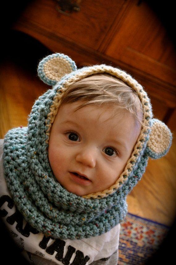 so cute!: Bears Cowls, Teddy Bears, Baby Cowls, Cute Ideas, Kids, Baby Bears,  Poke Bonnets, Babycowl, Crochet Cowls