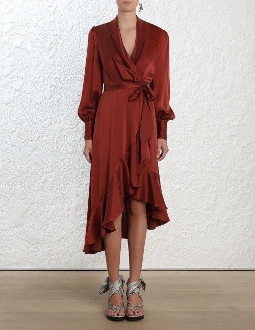 fc57d5dfc9b68 Wrap Dress in 2019 | Fashion | Wrap dress, Dresses, Silk midi dress