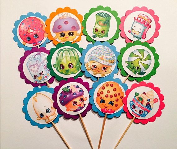 12 Shopkins birthday party, Shopkins party favors, Shopkins cupcake toppers OR favor tags, Shopkins party supplies