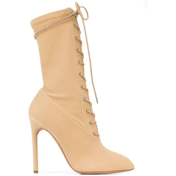 Yeezy Season 4 lace-up stiletto boots found on Polyvore featuring polyvore, women's fashion, shoes, boots, stiletto boots, stiletto heel boots, pointed-toe boots, leather sole shoes and genuine leather boots