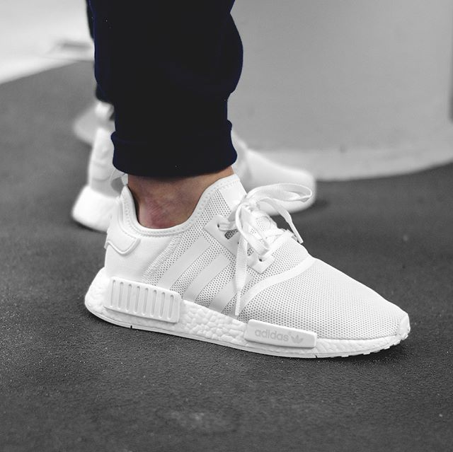 Restock Adidas Nmd R1 Triple White Sneaker Shouts Adidas Shoes Mens Adidas White Shoes Sneakers Men Fashion