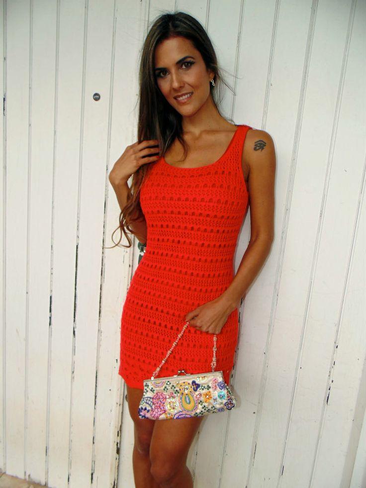 Chorrilho de ideias: Vestido vermelho verão em crochet