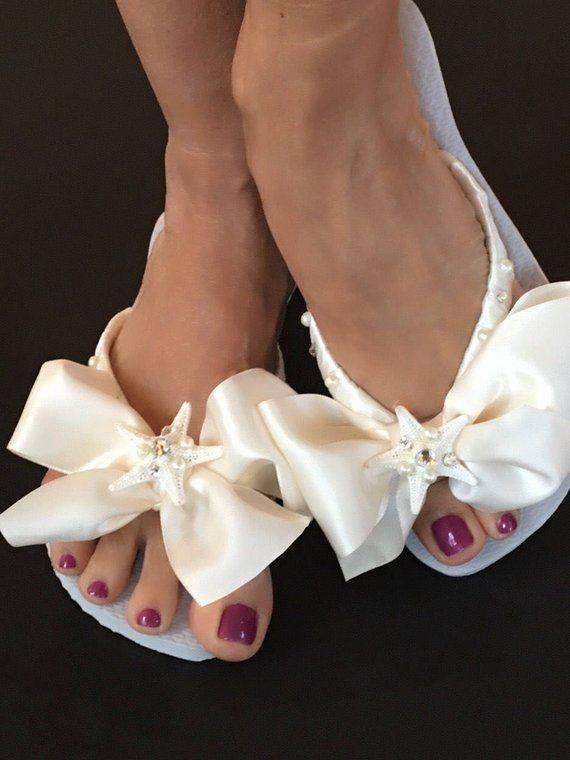 172883ad7422e9 Bridal Flip Flops Wedges  Beach Wedding Shoes  Bridal Shoes  Comfortable  Wedding Shoes  Bridesmaid Shoes  Bridal Shower Gifts